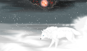 Skoll and the Moon by WhiteWolfCrisis13