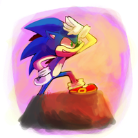 sonic lookin' over yonder by Shellyshockz