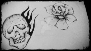 rose and skull by GeertY