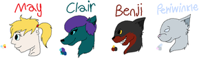May, Clair, Benji, and Periwinkle ref sheets by Helkie-three