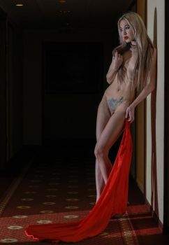 red dress, falling down by MarcBergmann