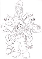 Super Mario Bros Z - Lineart by kamon-san