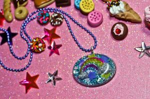 Rainbow Glitter Bomb Resin Charm Necklace by squeekaboo