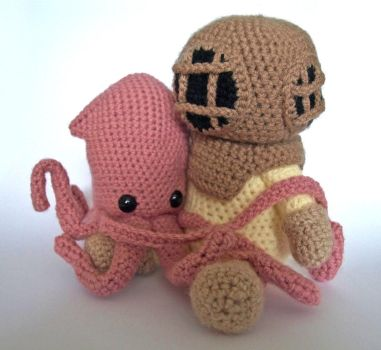 Deep Sea Diver and Squid by MaffersToys