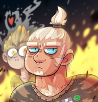 Maskless Roadhog and his Junkrat fanboy by ZeTrystan