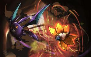 Crobat vs. Volcarona by sharkjaw