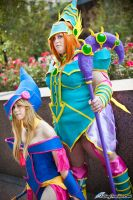 Dark Magician Girl and Magician's Valkerie by FallingFeathers