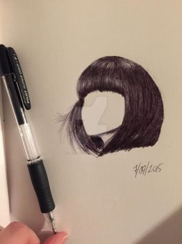 Hairstudy in pen by birgithececilie