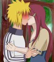 Minato and Kushina:First kiss by Rurim
