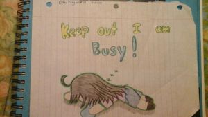 keep out I am busy! xD by Redfangwolf21