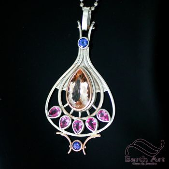 Art Deco style Pendant in dual metal by mooredesign13