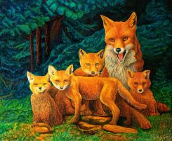 Fox family by AldemButcher
