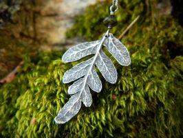Silver Woodland Licorice Fern, Green Tourmaline by QuintessentialArts
