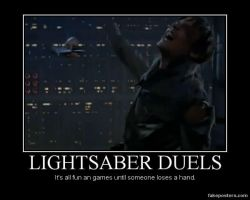 Lightsaber Duel Demotivational Poster by unownace