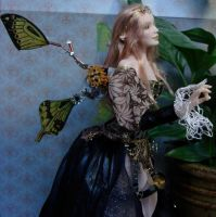 Steampunk Fairy Doll close up by elvenelysium