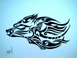Tribal Wolf by DesignTheSkinYourIn