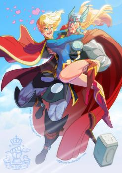 DC/Marvel: Kara and Thor by pushfighter