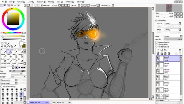 Overwatch Tracer WIP - Female 01 by eHillustrations