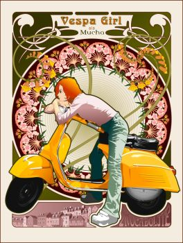 Vespa Girl ala Mucha by sun2197