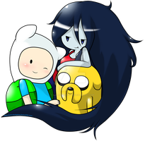 Finn,Jake,Marceline by andreahedgehog