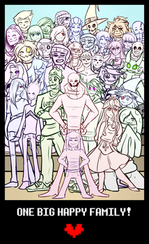 UNDERTALE OC GROUP PIC- BIG HAPPY FAMILY! by putt125