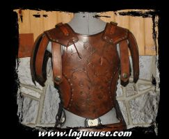 female leather armor back view by Lagueuse