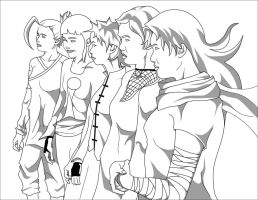 Naruto Females Black and white by Dominican-Franklyn