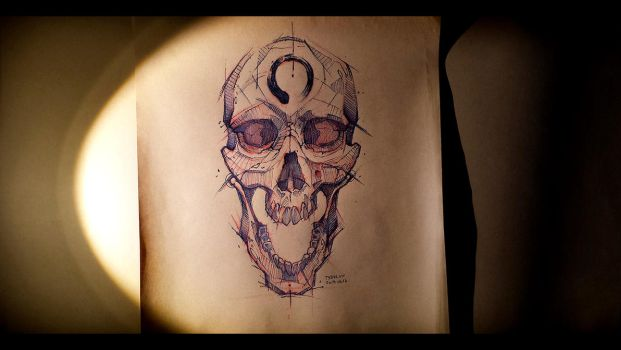 Human Skull Sketch Fb Psdelux by psdeluxe