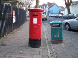 Red Mailbox and Green Bin 1 by MerkabahStock