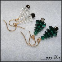 Holiday Tree Earrings by 1337-Art
