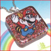 Raccoon Mario - Resin Necklace by bapity88