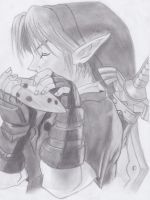 Link playing Ocarina sketch by IreneMarleenAyuma