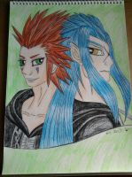 Flames and Moon, Axel and Saix by lustyvampire