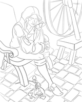 rumpelstiltskin and rose lineart by Giraresole