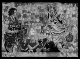 Dirk Nowitzki and Steve Nash by DirtyD41