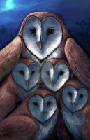 Barn Owls- Five of Hearts by Nambroth