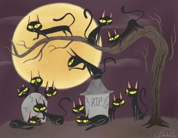 13 Black Cats by happydoodle