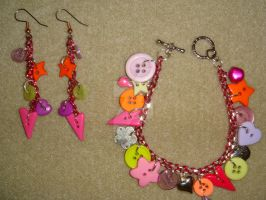 pink chains and buttons - set by colourful-blossom