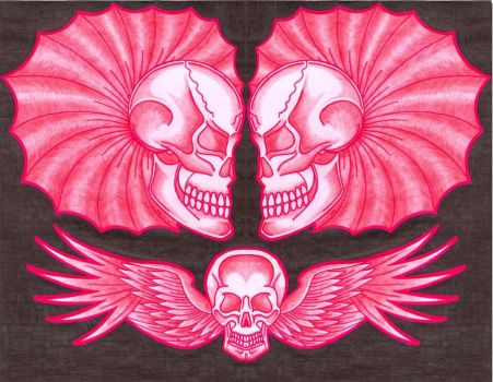 Red and black skulls by SamuelKeithBurns