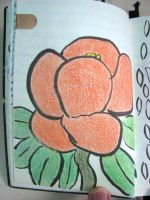 Orange flower in pencil by ExcaliburZ