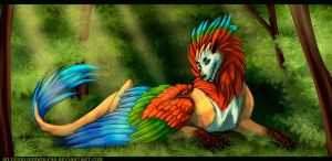 day 9 - parrot dragon by Silverbloodwolf98