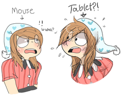 Mouse and Tablet Clown by burihamachi