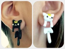Luna and Artemis dangling earrings :3 by AlphaChoconess95