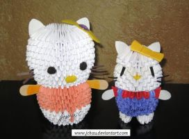 3D Origami Hello Kittys by jchau