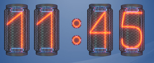 12 and 24 H Nixie HD Clock for Rainmeter by drakulaboy