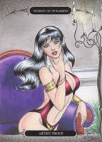 Women of Dynamite-Vampirella AP Sketch Art Card 1 by DenaeFrazierStudios