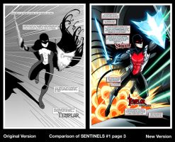Comparison of SENTINELS #1 page 3 by RichBernatovech