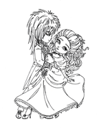 Jareth and Sarah (Labyrinth) by JadeDragonne