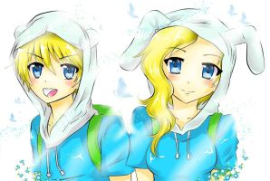 Adventure Time_Finn n Fionna by reese-yamawe