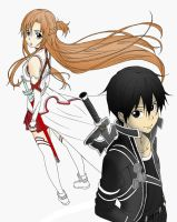 Asuna and Kirito from Sword Art Online Paint by DevilDomo